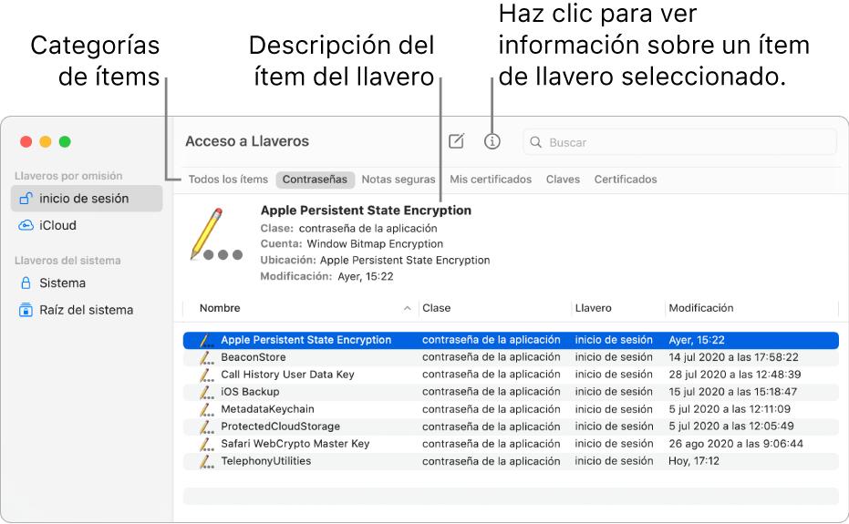 """La ventana de """"Acceso a Llaveros"""" con los llaveros en la barra lateral. A la derecha se muestra la descripción de la contraseña de un llavero de inicio de sesión."""