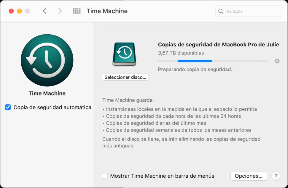 Las preferencias de TimeMachine que muestran el estado del progreso de una copia de seguridad a una unidad externa.