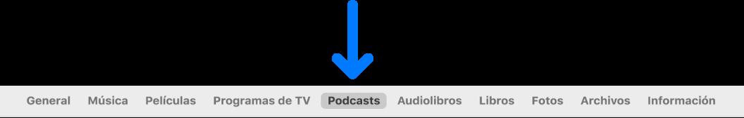 La barra de botones con Podcasts seleccionado.