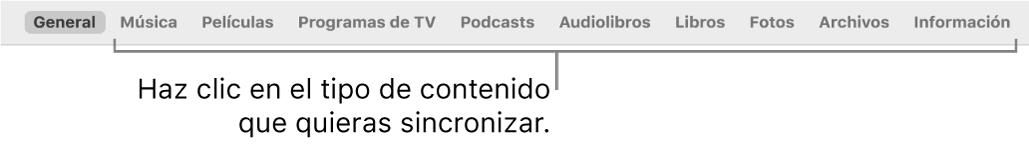 La barra de botones que muestra el botón General y botones de contenidos como música, películas, programas de TV, etc.