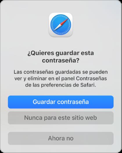 Un cuadro de diálogo de Safari preguntando si quieres guardar la contraseña de un sitio web.