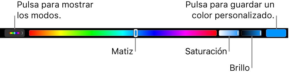 La TouchBar con los reguladores de matiz, saturación y brillo para el modo HSB. En el extremo izquierdo hay un botón para mostrar todos los modos; a la derecha, el botón para guardar un color personalizado.