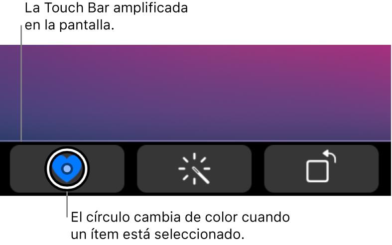 La Touch Bar con aumento de zoom en la parte inferior de la pantalla; el círculo que rodea a un botón cambia cuando se selecciona el botón.