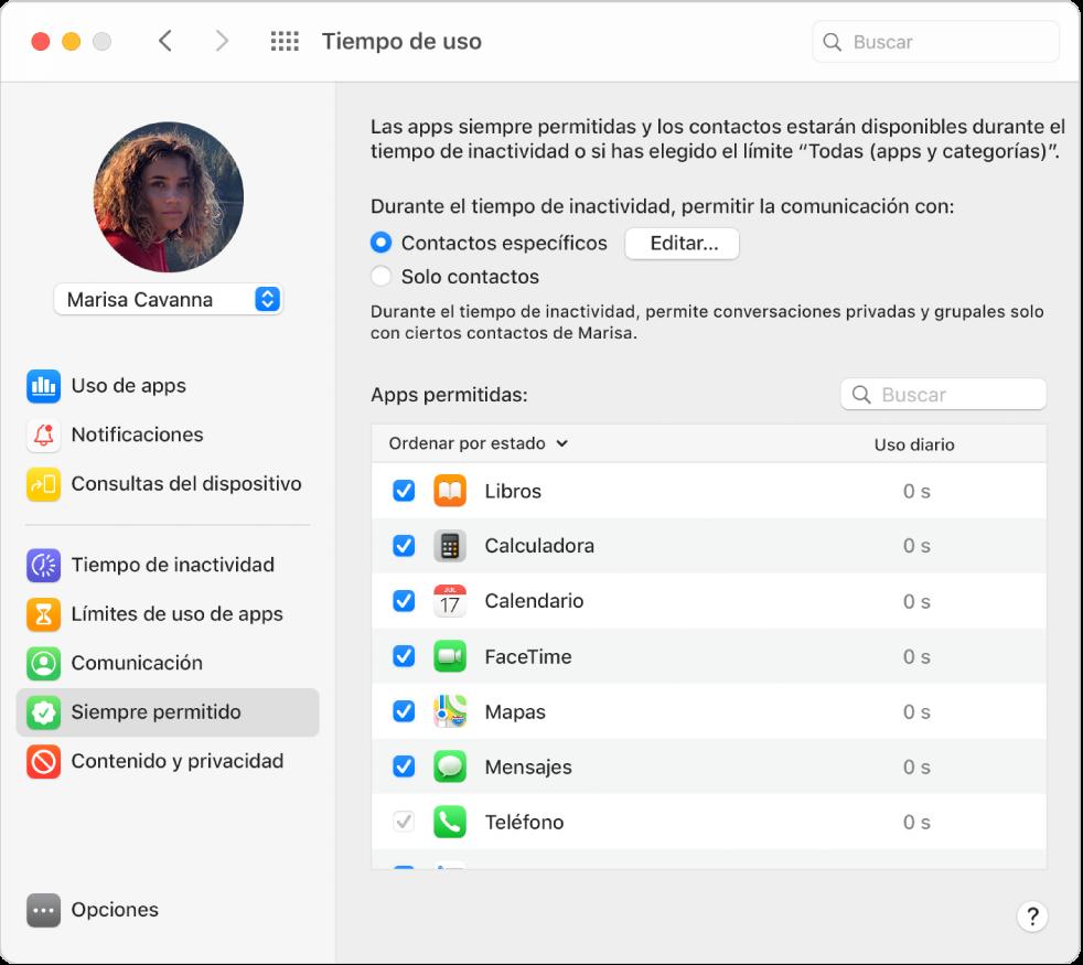 """El panel """"Siempre permitido"""" de """"Tiempo de uso"""" con las opciones de comunicación del tiempo de inactividad seleccionadas y las apps permitidas ordenadas por estado."""