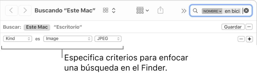 Una ventana del Finder con campos para especificar criterios de búsqueda.
