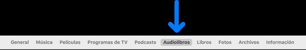 La barra de botones con Audiolibros seleccionado.
