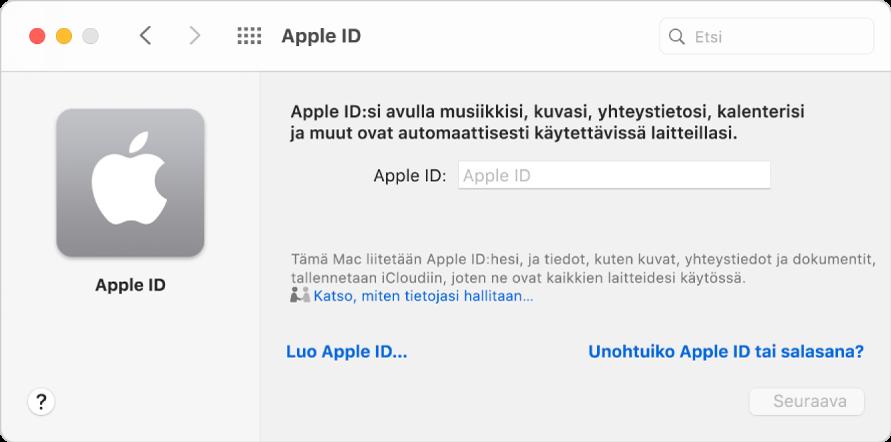 AppleID ‑valintaikkuna valmiina AppleID:n syöttämiseen. Luo AppleID ‑linkin kautta voidaan luoda uusi AppleID.