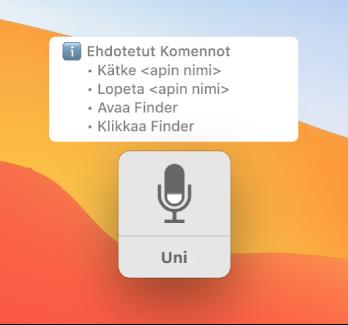 """Ääniohjauksen palauteikkuna, jonka vieressä näkyy ehdotettuja komentoja, kuten """"Avaa Finder"""" tai """"Klikkaa Finder""""."""