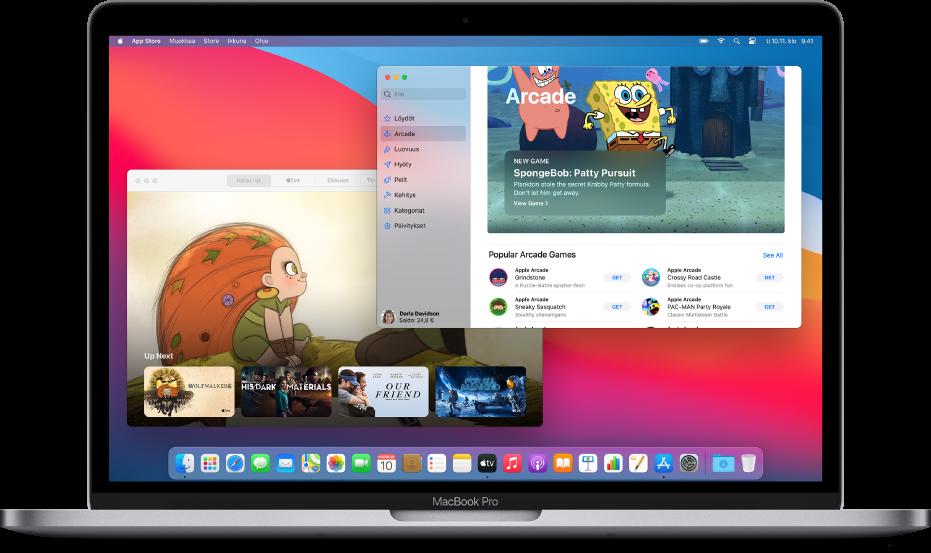 Macin työpöytä, jossa on Applen TV-appi, jossa näkyy Katso nyt -näyttö, ja AppStore -appi, jossa näkyy AppleArcade.