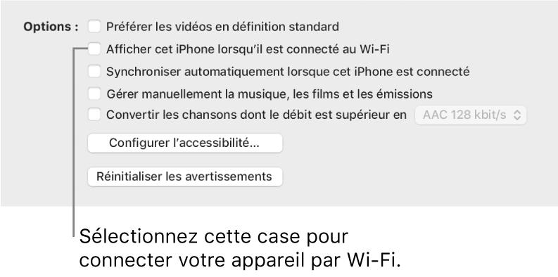 Les options de synchronisation affichant des cases à cocher pour gérer manuellement les éléments de contenu avec la case «Afficher cet [appareil] lorsqu'il est connecté au Wi‑Fi» identifiée.
