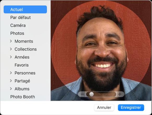 La zone de dialogue de la photo d'identifiantApple où vous avez ajouté une photo ou une image pour représenter votre identifiantApple.