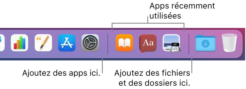 Une partie du Dock affichant les lignes séparatrices entre les apps, les apps récemment utilisées et les fichiers et les dossiers.