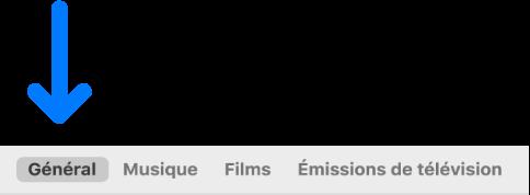La barre de boutons qui affiche l'option Général sélectionnée.