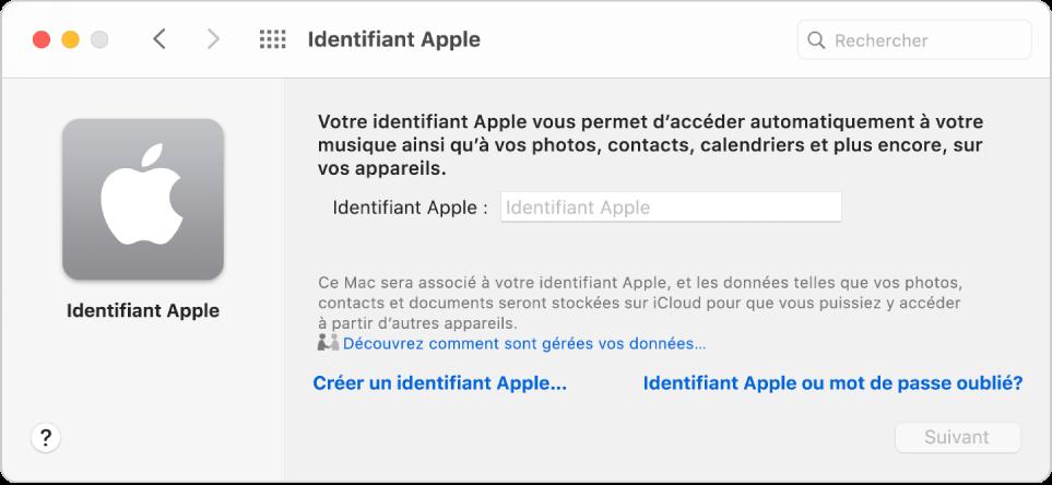 Zone de dialogue de l'identifiant Apple, dans laquelle vous pouvez saisir un identifiant Apple. Un lien «Créer un identifiant Apple» vous permet de créer un nouvel identifiant Apple.