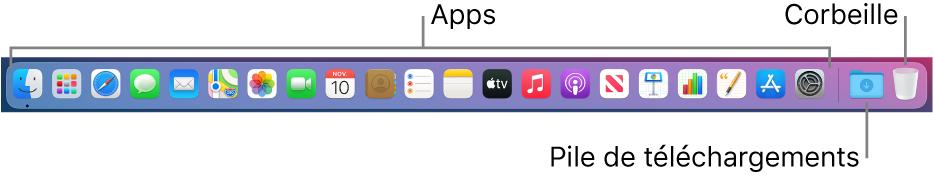 Le Dock comporte les icônes des apps, de la pile de téléchargements et de la Corbeille.