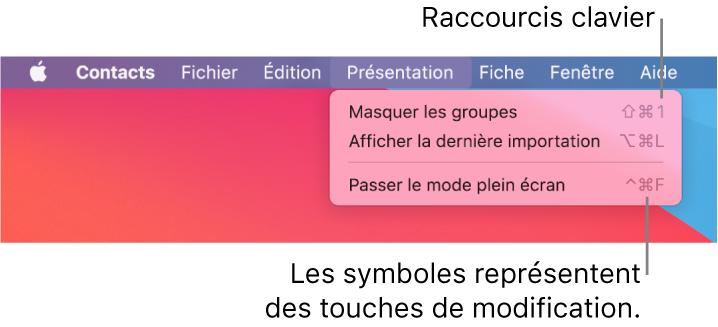 Raccourcis clavier du menu Fichier de l'app Safari