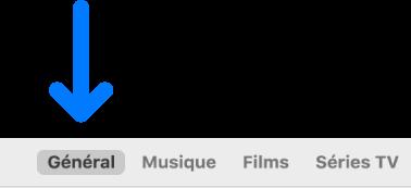 La barre des boutons affichant l'option Général sélectionnée.