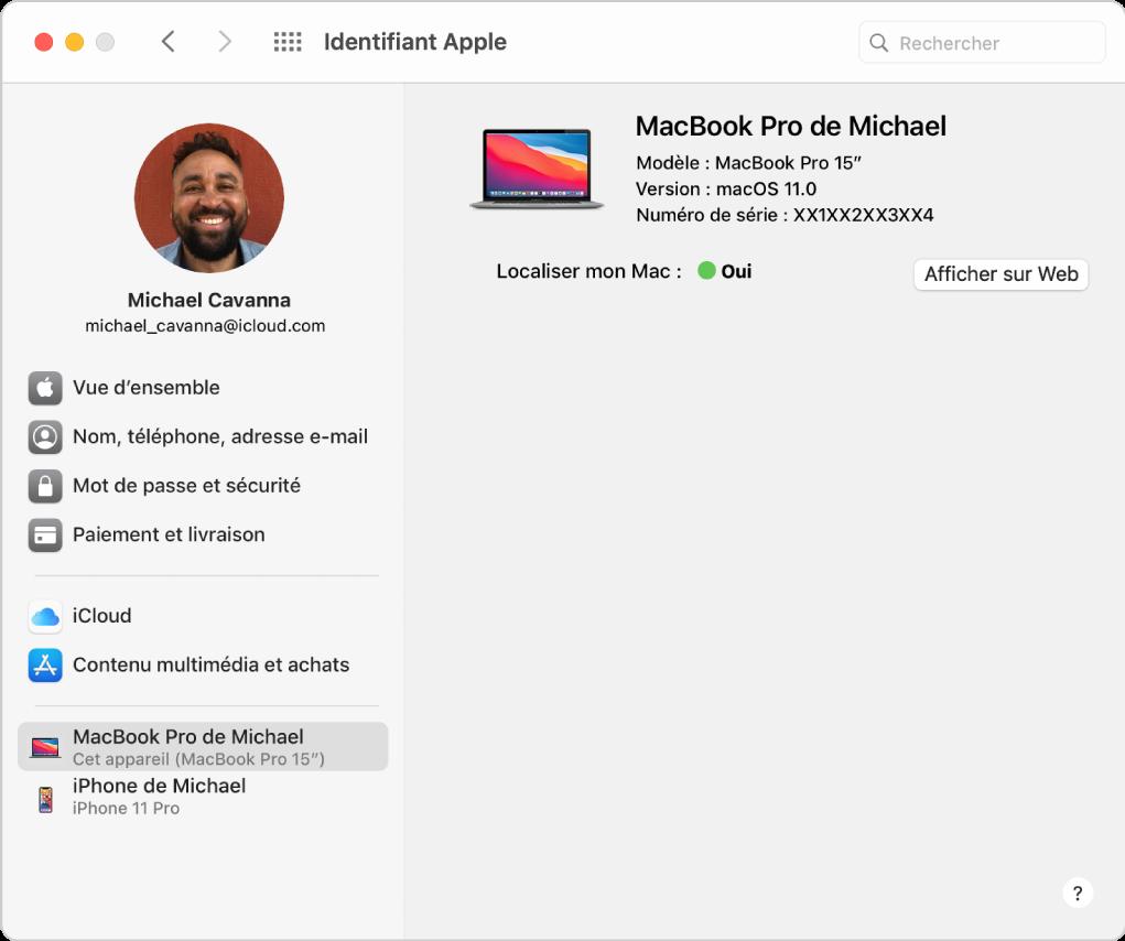 Préférences «IdentifiantApple» montrant une barre latérale de différents types d'options de compte que vous pouvez utiliser et la liste des appareils approuvés pour un compte existant.