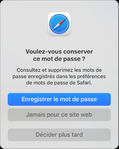 Zone de dialogue Safari demandant si vous souhaitez enregistrer le mot de passe d'un site web.