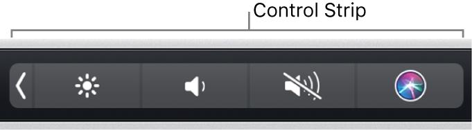 La ControlStrip condensée à l'extrémité droite de la TouchBar.