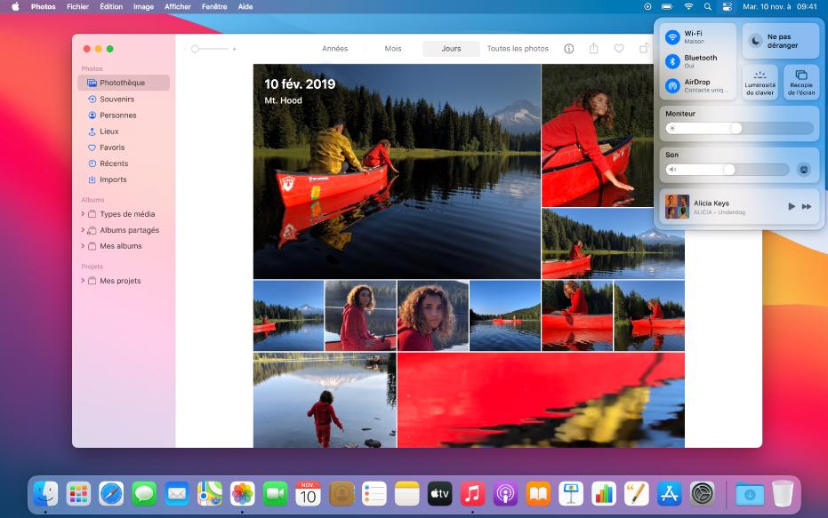 L'app Photos ouverte et prête à partager des photos via la fonctionnalité «Recopie de l'écran» du Centre de contrôle, en haut à droite du bureau.