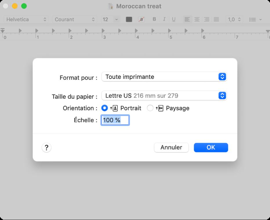 Les options d'impression par défaut affichant le menu local Options d'impression et l'option Échelle comportant un champ à pourcentage pour spécifier l'échelle d'impression désirée.
