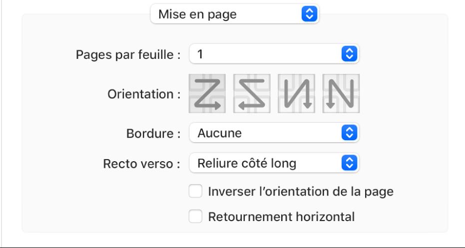 L'option Mise en page choisie dans le menu local Options d'impression, avec la case à cocher Inverser l'orientation de la page.
