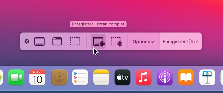Le bureau avec l'app Capture d'écran ouverte, prête à enregistrer la totalité de l'écran.