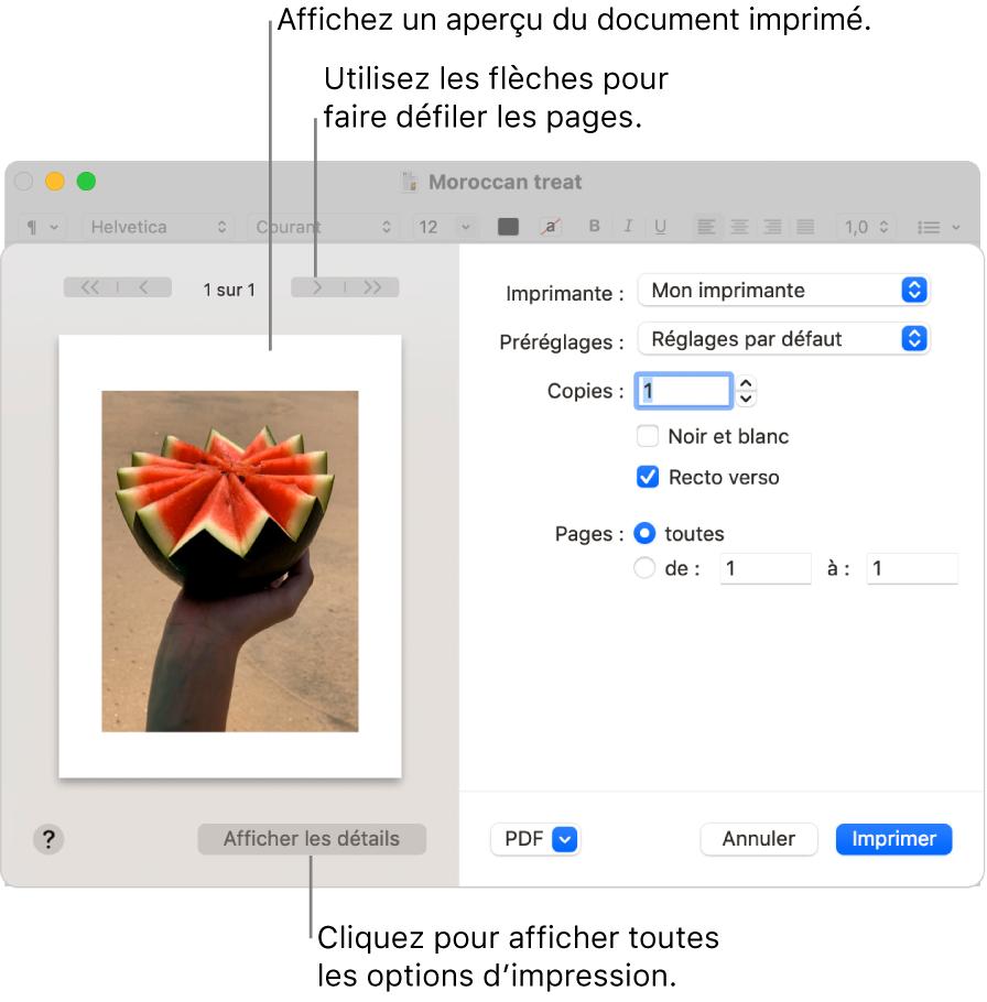 La zone de dialogue Imprimer affiche un aperçu de votre tâche d'impression. Cliquez sur le bouton Afficher les détails pour afficher toutes les options d'impression.