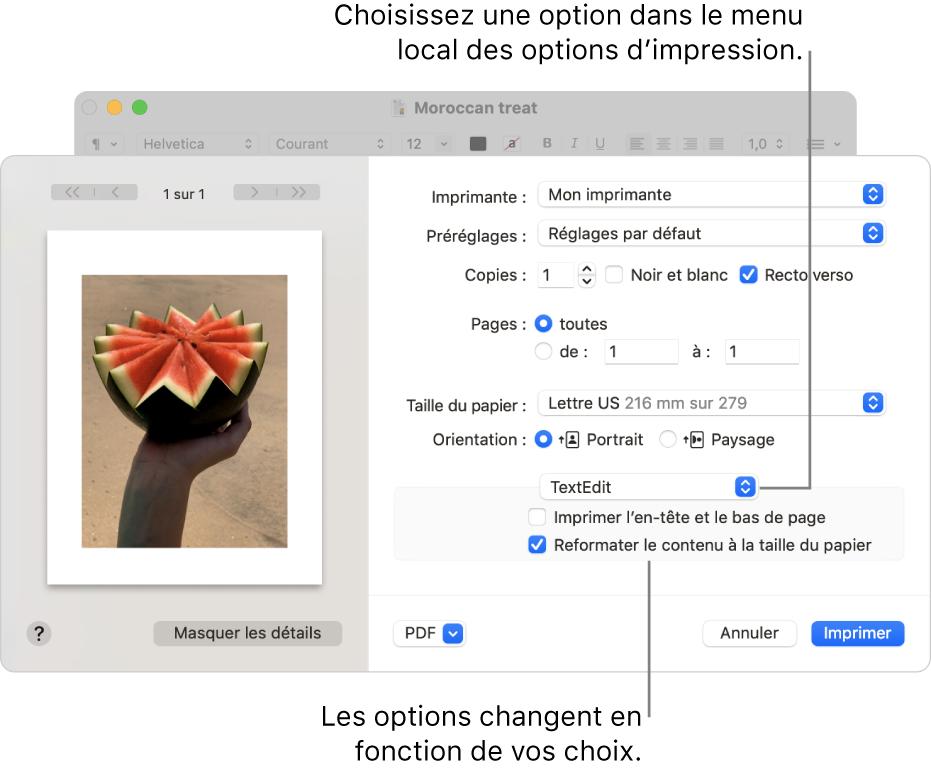 La zone de dialogue Imprimer affichant les réglages d'impression avancés, avec le menu local des options d'impression vers le centre de la zone de dialogue. Les options d'impression affichées sous le menu local changent en fonction de l'option choisie.