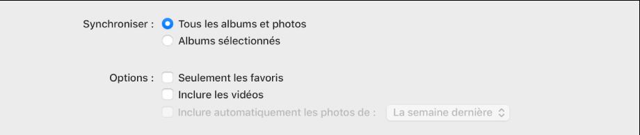 La case «Synchroniser les photos sur votre appareil depuis» s'affiche avec l'option «Photos» sélectionnée dans le menu local.