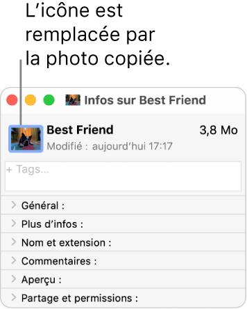 La fenêtre d'informations d'un dossier, avec l'icône générique remplacée par une image.