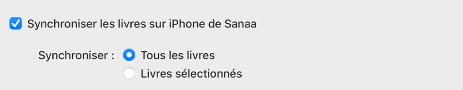 La case «Synchroniser les livres sur l'appareil» s'affiche avec le bouton «Tous les livres» sélectionné et le bouton «Livres sélectionnés» désélectionné.