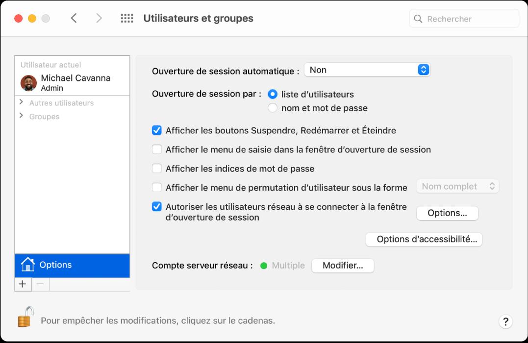 La sous-fenêtre Options des préférences Utilisateurs et groupes, où vous pouvez sélectionner des options de personnalisation de la méthode de connexion d'un utilisateur.