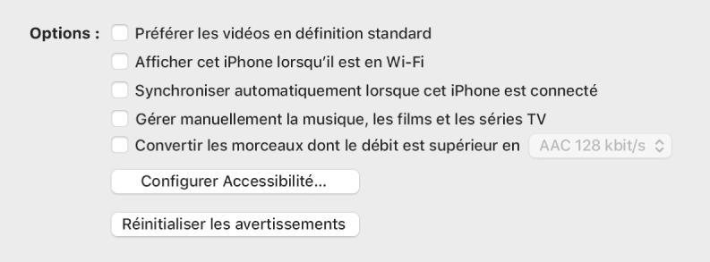Les options de synchronisation s'affichent dans une liste de cases, y compris les cases «Préférer les vidéos en définition standard» et «Convertir les morceaux dont le débit est supérieur en»