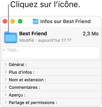 La fenêtre d'informations d'un dossier, avec l'icône générique du dossier sélectionné.
