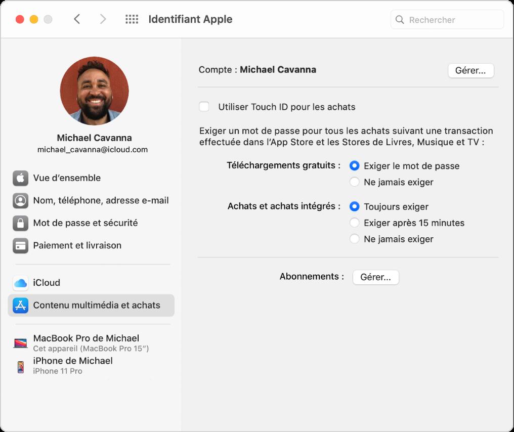 Préférences «IdentifiantApple» montrant une barre latérale de différents types d'options de compte que vous pouvez utiliser et les préférences «Contenu multimédia et achats» pour un compte existant.