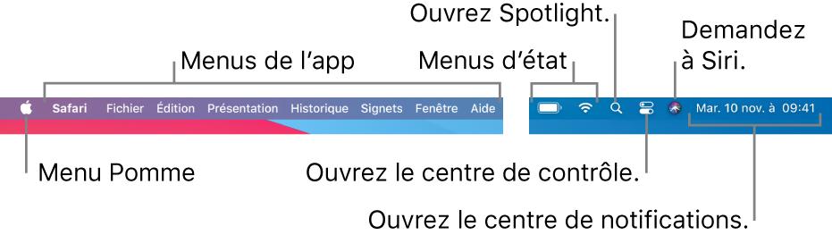La barre des menus. Le menu Pomme et les menus d'app se trouvent à gauche. Les menus d'état, Spotlight, Centre de contrôle, Siri et du Centre de notifications se trouvent à droite.