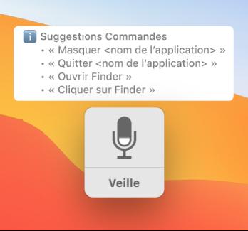 La fenêtre d'écho du contrôle vocal avec des commandes suggérées, comme «Ouvrir le Finder» ou «Cliquez sur Finder» affichées à côté.