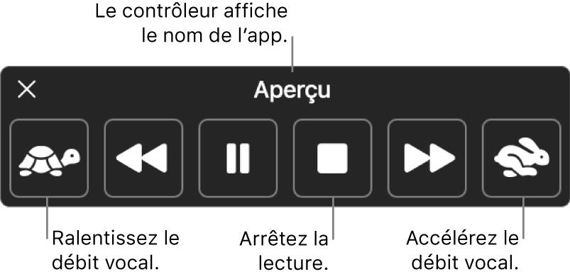 Le contrôleur à l'écran qui peut être affiché lorsque votre Mac énonce du texte sélectionné. Le contrôleur fournit six boutons qui, de gauche à droit, vous permettent de diminuer le débit vocal, revenir sur une phrase, démarrer ou mettre en pause la lecture, arrêter la lecture, avancer d'une phrase et augmenter le débit vocal. Le nom de l'app est affiché en haut du contrôleur.