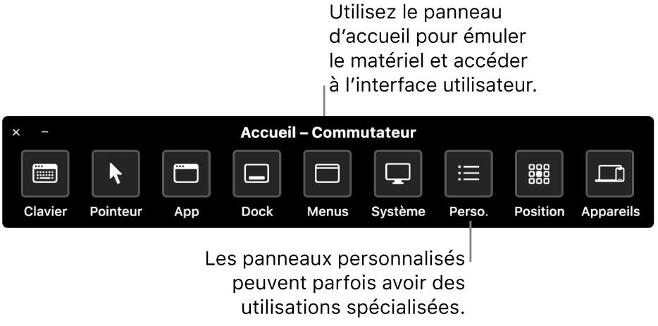 Le panneau d'accueil de Contrôle de sélection fournit des boutons permettant de contrôler, de gauche à droite, le clavier, le pointeur, l'app, le Dock, la barre des menus, les commandes système, les sous-fenêtres personnalisées, la position de l'écran ainsi que d'autres appareils.