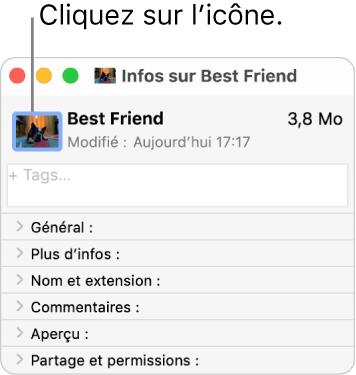 La fenêtre d'informations d'un dossier, avec une image sur l'icône.