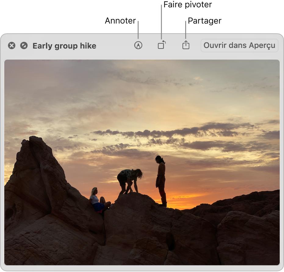Une image dans la fenêtre «Coup d'œil» avec des boutons permettant de faire pivoter, d'annoter ou de partager une image, ou de l'ouvrir dans l'app Aperçu.