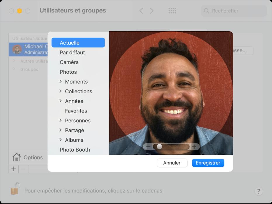 Les options de modification permettant de sélectionner une image pour le compte utilisateur. Sur la gauche se trouve une liste des sources d'images possibles, dont «Par défaut», Caméra et Photos.