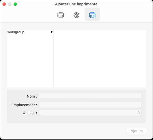 La zone de dialogue «Ajouter une imprimante» affichant le bouton Windows sélectionné et des options pour sélectionner un groupe de travail, ainsi que des champs pour saisir le nom et l'emplacement de l'imprimante et un menu local Utiliser pour choisir le type d'imprimante.