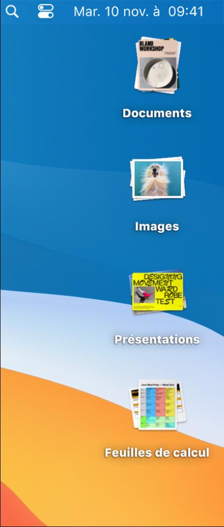 Le bureau d'un Mac avec quatre piles, pour les documents, les images, les présentations et les feuilles de calcul, sur le côté droit de l'écran.