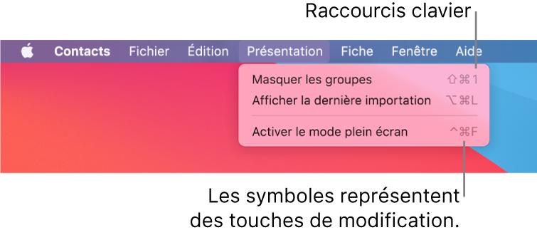 L'app Safari avec les raccourcis clavier du menu Fichier mis en évidence