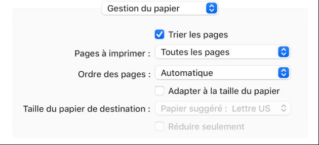 L'option de Gestion du papier choisie dans le menu local Options d'impression et le menu local Ordre des pages apparaît pour modifier l'ordre des pages.