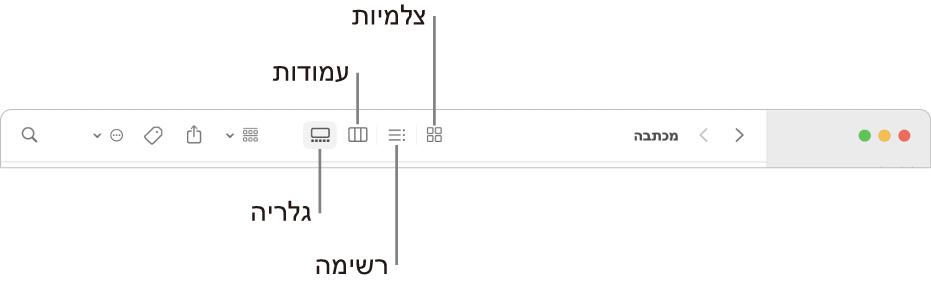 """חלקו העליון של חלון של ה-Finder עם כפתורי אפשרויות """"תצוגה"""" עבור תיקיה."""