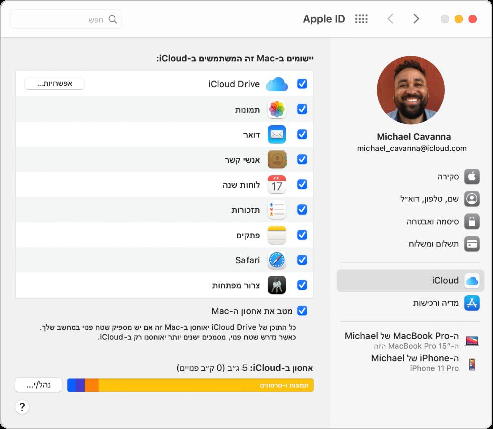 העדפות Apple ID עם סרגל צד המציג את הסוגים השונים של אפשרויות חשבון זמינות לשימוש ואת העדפות iCloud של חשבון קיים.